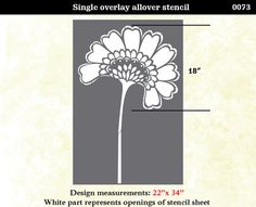 "Egyptian Oriental Asian Flower Stencil (similar to a Lotus or Peony, large pattern 22"" x 34"") by OMG Stencils on Etsy"