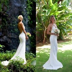Mermaid Wedding Dresses Backless Lace Spaghetti Beach Wedding Dress