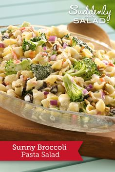 Sunny Broccoli Pasta Salad - Toss together this delicious broccoli and pasta salad faster than you can stop for deli salad.