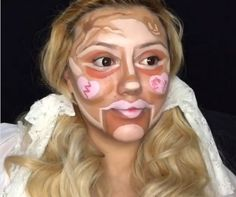 BellaDeLune before she's blended in her colour correctors and concealer
