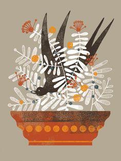 Golondrina, bird illustration by Mar Hernandez (Malota)