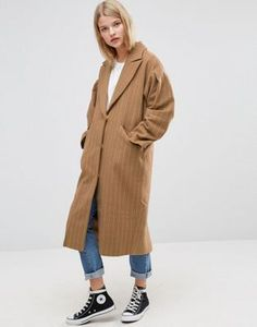 ASOS Coat with Statement Sleeve in Pinstripe