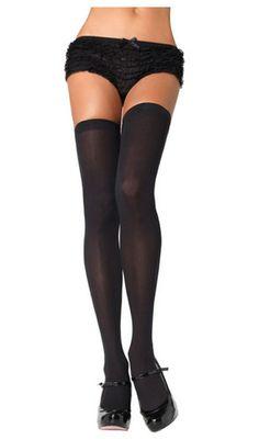 0668112611b Black Thigh High Stockings