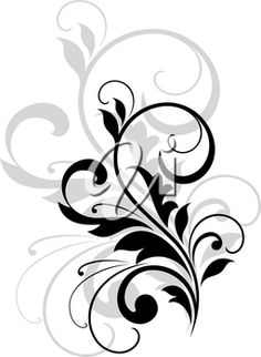 iCLIPART - Elegant stylish scrolling foliate design element in black and white with a repeat in grey behind it