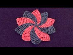 Цветочек из пышных столбиков с закрепом - Flower of Puff Stitch with Fasten - YouTube