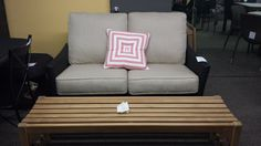 Loveseat by Patio Renaissance & teak bench by Domus Designs - both on sale now! Visit www.patiomarketdirect.com for other items, or our showroom Mon-Sat 9-5 for other great on sale patio items! #patio #Vancouver #sale #deck #furniture #comfort