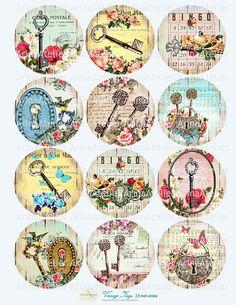 Vintage Keys Circles Micro slides  2.5 by arinaatelierDigital, $4.30