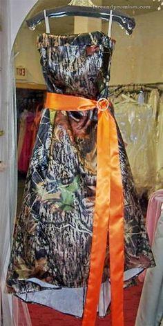 Camo formal Dress with orange Camo Formal Dresses, Camo Homecoming Dresses, Camo Bridesmaid Dresses, Camouflage Wedding Dresses, Strapless Prom Dresses, Nice Dresses, Marry Your Best Friend, Camo Dress, Camden