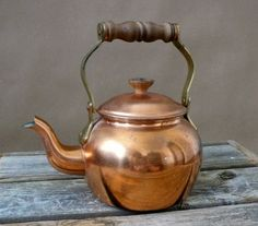 Vintage Copper Tea Kettle Teapot Tagus R50 Made In by chriscre, $26.00