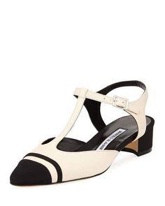 Iodora Cap-Toe T-Strap Pump, Beige/Black by Manolo Blahnik at Neiman Marcus. Crazy Shoes, Me Too Shoes, T Strap, Ankle Strap, Manolo Blahnik Heels, Napa Leather, Fashion Heels, Black Pumps, Leather Pumps