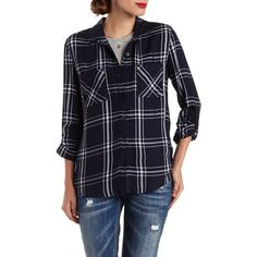 Charlotte Russe Navy Combo Button-Up Plaid Top by Charlotte Russe at... ($25) ❤ liked on Polyvore featuring tops, navy combo, long sleeve shirts, blue plaid shirt, button up shirts, long sleeve button down shirts and plaid shirt