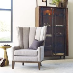 Channelled Wing Chair - Pewter