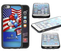 Happy 4th of July USA Flag Independence Day Red White and Blue Hat & Balloons iPhone 6 (4.7) INCH SCREEN Rubber Silicone TPU Cell Phone Case