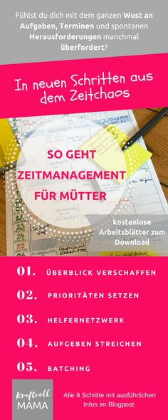 No time? With time management for mothers become mistress over your life again - Infographic time management - E Learning, Lerntyp Test, House Wash, Single Mum, Neuer Job, Budget Planer, Future Jobs, Attachment Parenting, Super Mom