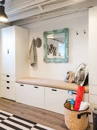 HGTV presents a fun art studio for kids in the low-ceiling basement of a Colonial. The transitional room features contemporary cabinets and furnishings, and the rafters were exposed and painted white to create a feeling of greater space. Low Ceiling Basement, Kids Basement, Basement Ideas, Basement Lighting, Entrada Ikea, Ikea Stuva, Flur Design, Boho Deco, Modern Entrance