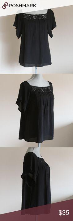 12800607893 NWT Ann Taylor LOFT Lace Yolk Short Sleeve Blouse Lace Yolk Short Sleeve  Blouse by Ann