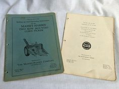 1953 Massey Harris Set Up & Operating Instructions for Two Row Corn Picker  #MasseyHarris
