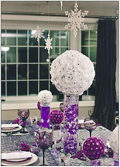 Purple and Silver Wedding Decoration . 30 Fresh Purple and Silver Wedding Decoration . Wedding Decorations Purple and Silver Silver Wedding Decorations, Purple Wedding Centerpieces, Silver Centerpiece, Purple Wedding Tables, Purple Table, Christmas Table Settings, Christmas Table Decorations, Decoration Table, Holiday Decor