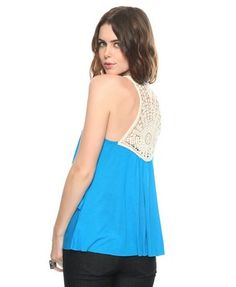 "Tiered crochet back tank (Forever 21), fits loose so you can keep that un behind your hip on the ""down low""."