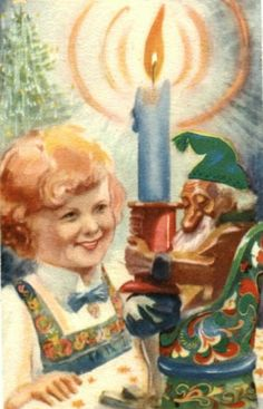 Julekort Ellen Hernæs Jente. Nisse m/grønn lue. No.arb