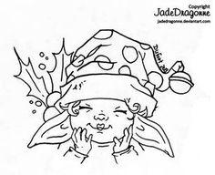 Xmas Elf by JadeDragonne on DeviantArt Fairy Coloring Pages, Adult Coloring Pages, Coloring Books, Colouring, Xmas Elf, Digi Stamps, Winter Christmas, Christmas Cards, Line Art