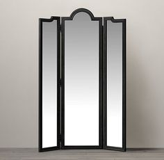 "Levico Standing Triptych Mirror - Black | Restoration Hardware | 78.5""h x 53.5""w | 1325.00"