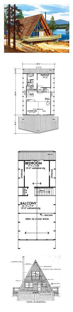 A-Frame House Plan 57544   Total Living Area: 1063 sq. ft., 2 bedrooms  1 bathroom. #houseplan #aframe