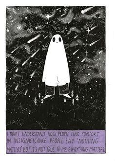 Thoughts From a Sad Ghost - Zine Ghost Comic, The Awkward Yeti, Sad Art, A Silent Voice, Vaporwave, Zine, Art Inspo, Illustration Art, Doodles