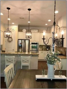 farmhouse kitchen decor Captivating Farmhouse Lighting Design Ideas To Complete Your Dcor Classic Home Decor, Farmhouse Dining, Kitchen Remodel, Kitchen Decor, Farmhouse Kitchen Lighting, Dining Room Decor, Farmhouse Dining Rooms Decor, Farmhouse Kitchen Design, Classic House