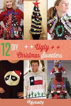 15 do it yourself ugly christmas sweaters ugliest christmas christmas sweater ideas diy ugly solutioingenieria Gallery
