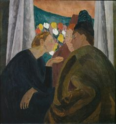 Vanessa Bell, A Conversation, oil on canvas, 87 × 81 cm. Courtesy: The Estate of Vanessa Bell and The Courtauld Gallery, London Vanessa Bell, Virginia Woolf, Dora Carrington, Duncan Grant, Bloomsbury Group, New Wave, Post Impressionism, Art Uk, Your Paintings
