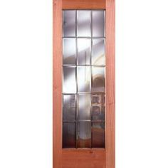 15 Lite Clear Bevel Zinc 32 in. x 80 in. StainTru Mahogany Slab Door