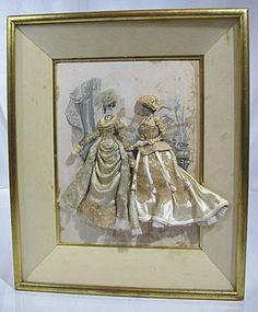 Vintage Antique Victorian La Mode Illustree SHADOW BOX w/Material Dresses #3