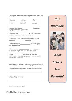 B1+ Adjectives and adverbs, Song Worksheet: What Makes You Beautiful by One Direction
