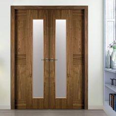 Sanrafael Lisa Glazed Double Door - Model K06V Walnut Prefinished. #walnutdoubledoors #internaldoubledoors #walnutfrenchdoors
