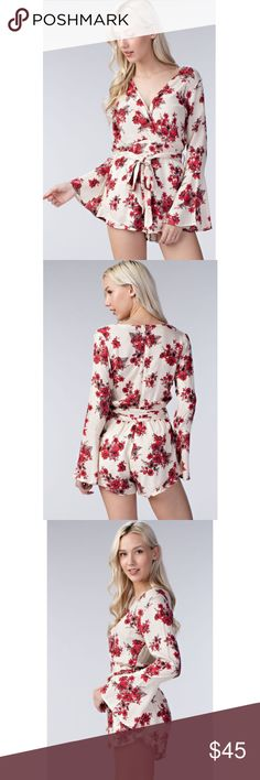 Floral Surplice Bell Sleeve Romper Label is Honey Belle, purchased directly from the vendor Honey Punch which is sold at many stores including ASOS, Urban Outfitters, Nastygal, Pacsun. No tags come attached but item is brand new, never worn. Runs small in my opinion, if you're in between sizes I would go up by one. Also I tied it in the back, you can do either.⭐️ Offers are welcome, I just ask that you make them via offer feature⭐️ This exact Romper in a different color combo is currently at…