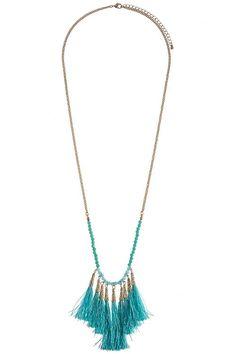 Turquoise Beaded Tassel Fringe Necklace