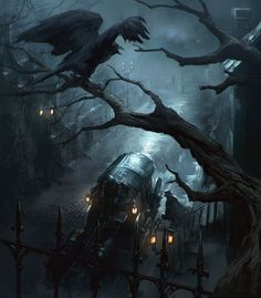 Image result for dark fantasy art haunted house