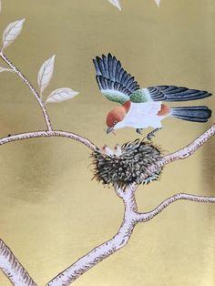 Chinoiserie handpainting on gold metallic leaf wallpaper, custom size available Silk Wallpaper, Hand Painted Wallpaper, Custom Wallpaper, Chinoiserie Fabric, Chinoiserie Wallpaper, Art Deco Decor, Oriental Design, Chinese Art, Beautiful Birds