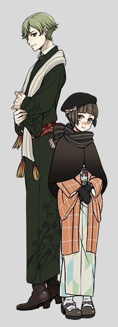 和装の鶯丸と平野藤四郎