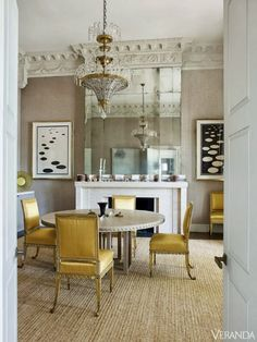 Architectural moldings, pale gray, yellow, and seagrass :: what's not to love!