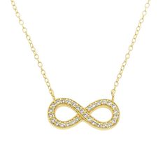 Gold over Sterling Silver Pave Infinity Necklace ~ $13.99