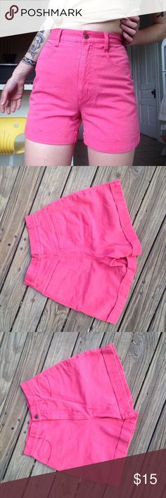 Vintage Pink Shorts Hot Pink vintage high waisted shorts! Size 1. So cute and comfortable! Very vibrant. Not UO tagged for similar style. Urban Outfitters Shorts Jean Shorts