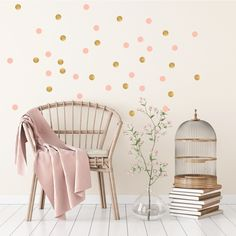 Pom Le Bon Homme Triangle wall transfers in Rose pink and gold Gold Dot Wall, Gold Dots, Scandinavian Wall Decor, Wall Transfers, Polka Dot Walls, Triangle Wall, Wall Decor Stickers, Sticker Mural, Child Room