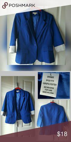 Blue blazer, size L Blue blazer, 3/4 sleeves, junior's size L Jackets & Coats Blazers