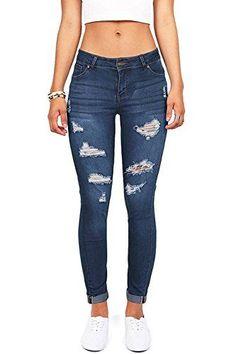 55c006f151127 Wax Denim Women s Juniors Distressed Slim Fit Stretchy Skinny Jeans