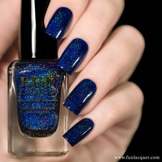 """Starry Night Of The Summer is back by popular demand! This version is slightly bluer than the first version. It is a absolutely amazing navy blue holo polish. This polish can be worn alone in 1-2 coats!*Photos shown here are 2 coats with 1 coat of glossy top coat.All F.U.N Lacquers are 5-FREE! They do not contain Dibutyl Phthalate (DBP), Toluene, Formaldehyde, Formaldehyde Resin, Camphor and it is cruelty FREE.*Kindly read the shop policy <a target=""""_blank"""" ..."""