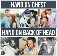Hand on chest/ hand on back of head couple pictures