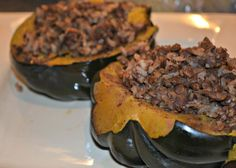 Slow Cooker Stuffed Acorn Squash recipe | OAMC from Once A Month Meals #freezercooking #squash #slowcooker