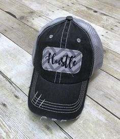 c5ee376509b16 Hustle Embroidered Grey and White Chevron Raggy Patch Distressed Black and  Grey Trucker Hat or Messy Bun Ponytail Cap
